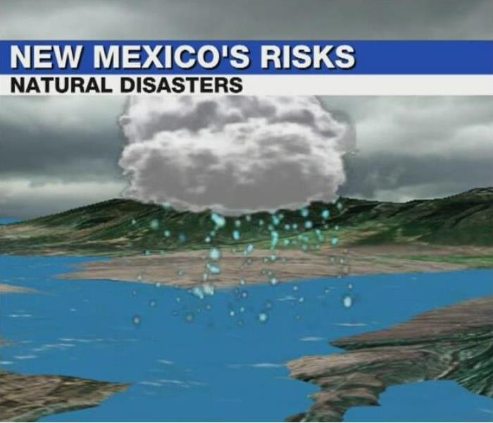 Headline for natural disasters in New Mexico. Rain clouds and flooding